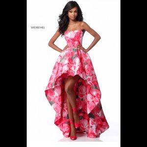 Sherri Hill Pink High low Prom Dress